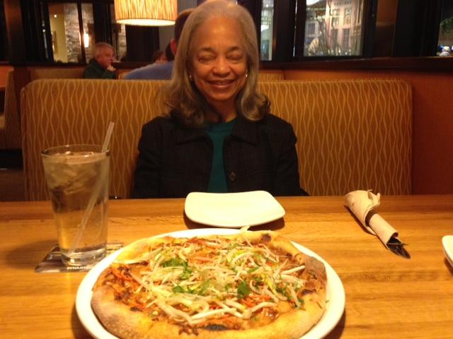 Tai Chicken Pizza and Mom